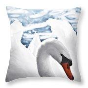 White Swan On Water Throw Pillow by Elena Elisseeva