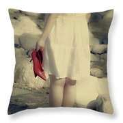 Woman In A River Throw Pillow by Joana Kruse