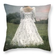 Woman With Bonnet Throw Pillow by Joana Kruse