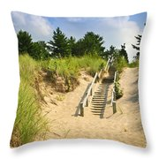 Wooden stairs over dunes at beach Throw Pillow by Elena Elisseeva