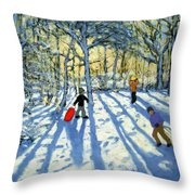 Woodland In Winter Throw Pillow by Andrew Macara