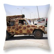A Free Libyan Army Pickup Truck Throw Pillow by Andrew Chittock