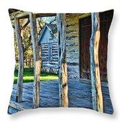 1860 Log Cabin Porch Throw Pillow by Linda Phelps