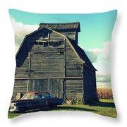 1950 Cadillac Barn Cornfield Throw Pillow by Lyle Hatch