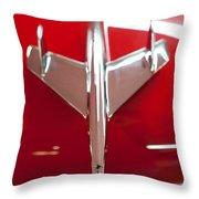 1955 Chevy Belair Hood Ornament Throw Pillow by Sebastian Musial