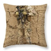 A German Army Soldier Armed With A M4 Throw Pillow by Terry Moore