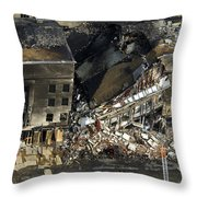 Aerial View Of The Terrorist Attack Throw Pillow by Stocktrek Images