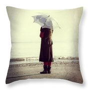 Girl On The Beach With Parasol Throw Pillow by Joana Kruse