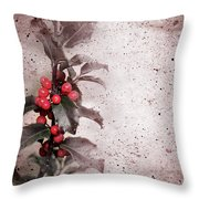 Holly Branch  Throw Pillow by Carlos Caetano