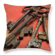 Old Keys Throw Pillow by Bernard Jaubert