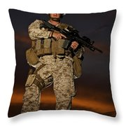 Portrait Of A U.s. Marine In Uniform Throw Pillow by Terry Moore