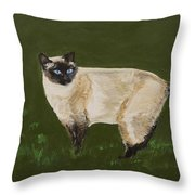 Sweetest Siamese Throw Pillow by Leslie Allen