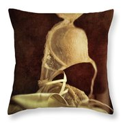 Wedding Shoes And Under Garments On Chair Throw Pillow by Sandra Cunningham