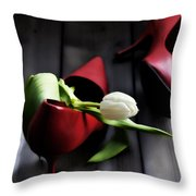 White And Red Throw Pillow by Joana Kruse