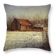 Abandoned barn with snow falling Throw Pillow by Sandra Cunningham