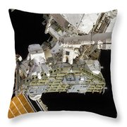 Astronauts Working On The International Throw Pillow by Stocktrek Images