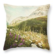 Field Of Daisies And Wild Flowers Throw Pillow by Sandra Cunningham