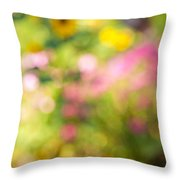 Flower garden in sunshine Throw Pillow by Elena Elisseeva