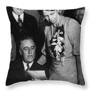 Franklin D. Roosevelt Throw Pillow by Granger