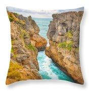 Pancake Rocks Throw Pillow by MotHaiBaPhoto Prints