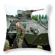 The Pandur 6x6 Family Of Wheeled Throw Pillow by Luc De Jaeger