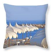 Umbrellas In The Sun Throw Pillow by Joana Kruse