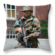 A Paratrooper Of The Belgian Army Throw Pillow by Luc De Jaeger