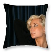Blond Woman Throw Pillow by Henrik Lehnerer