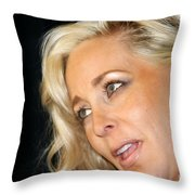 Blond Woman Throw Pillow by Henrik Lehnerer