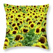 Field Of Sunflowers Throw Pillow by Bernard Jaubert