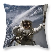 Astronaut Participates Throw Pillow by Stocktrek Images