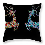 Reindeer Design By Snowflakes Throw Pillow by Setsiri Silapasuwanchai