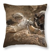U.s. Army Rangers In Afghanistan Combat Throw Pillow by Tom Weber