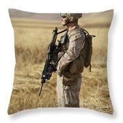 U.s. Marine Patrols A Wadi Near Kunduz Throw Pillow by Terry Moore