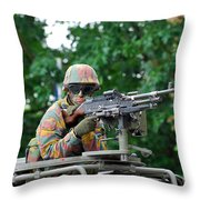A Belgian Army Soldier Handling Throw Pillow by Luc De Jaeger