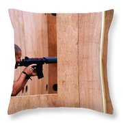 A Belgian Soldier Trying Out A Shooting Throw Pillow by Luc De Jaeger