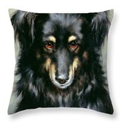 A Black And Tan Collie Throw Pillow by Robert Morley