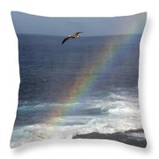 A Blue Footed Booby Soars Throw Pillow by Ralph Lee Hopkins