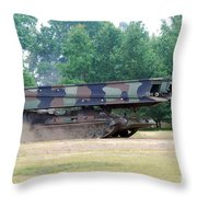 A Bridgelayer In Use By The Belgium Throw Pillow by Luc De Jaeger