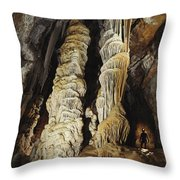 A Caver Is Dwarfed By Giant Calcite Throw Pillow by Michael Nichols