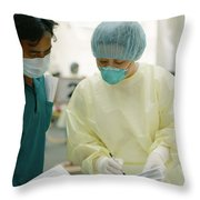 A Chinese Medical Officer Having Throw Pillow by Justin Guariglia