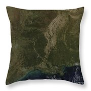 A Cloud-free View Of The Southern Throw Pillow by Stocktrek Images