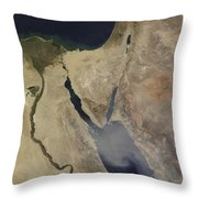 A Cloud Of Tan Dust From Saudi Arabia Throw Pillow by Stocktrek Images