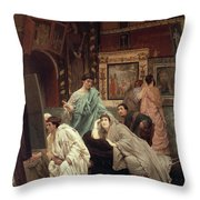 A Collector Of Pictures At The Time Of Augustus Throw Pillow by Sir Lawrence Alma-Tadema