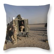 A Control Center For The Howitzer 105mm Throw Pillow by Andrew Chittock