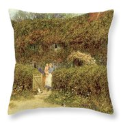 A Cottage At Freshwater Isle Of Wight Throw Pillow by Helen Allingham