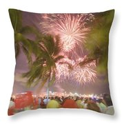 A Crowd Gathered On New Years Eve Throw Pillow by Mike Theiss