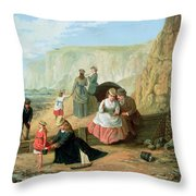 A Day at the Seaside Throw Pillow by William Scott