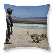 A Dog Handler Conducts Improvised Throw Pillow by Stocktrek Images
