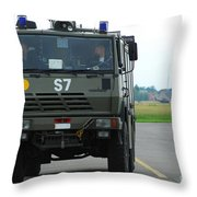A Fire Engine Based At The Air Force Throw Pillow by Luc De Jaeger